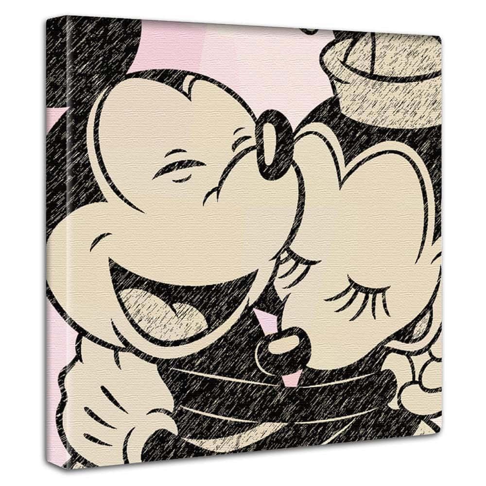 【ファブリックパネル】ミッキーマウス&ミニーマウス ハグ・ピンク 【dsn-0208】
