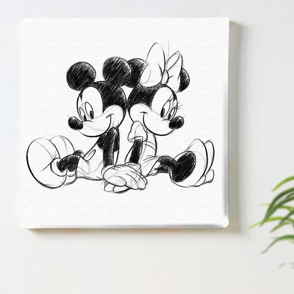 【ファブリックパネル】ミッキーマウス&ミニーマウス