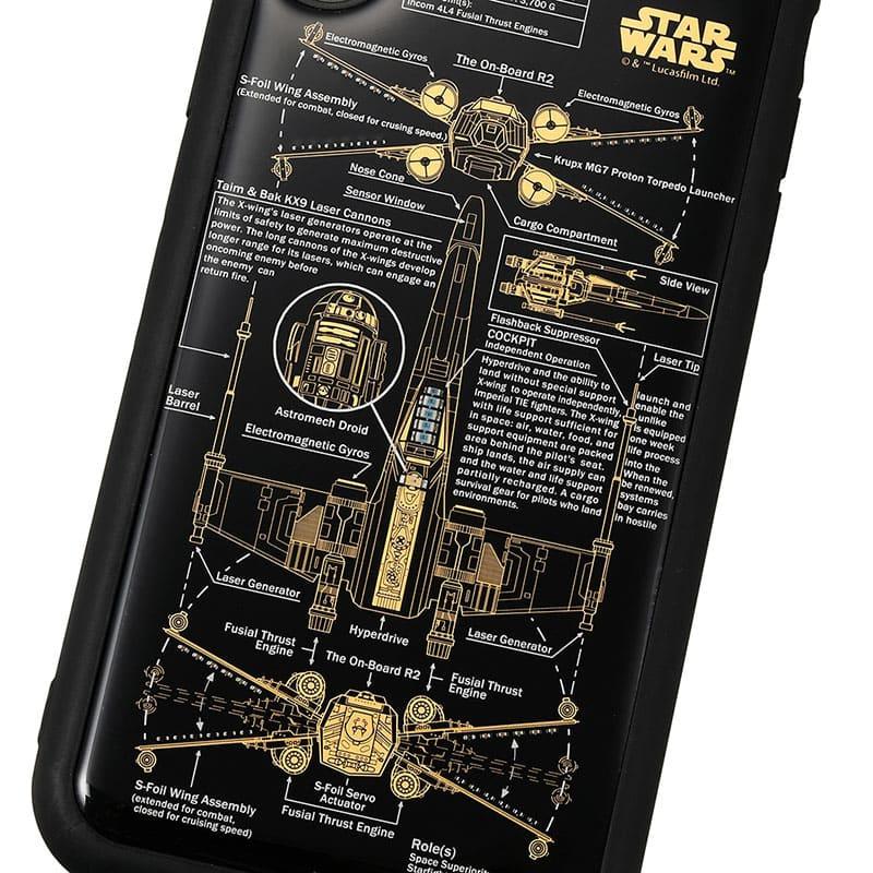 スター・ウォーズ iPhone XR用 スマホケース・カバー FLASH X-WING 基板アート ブラック