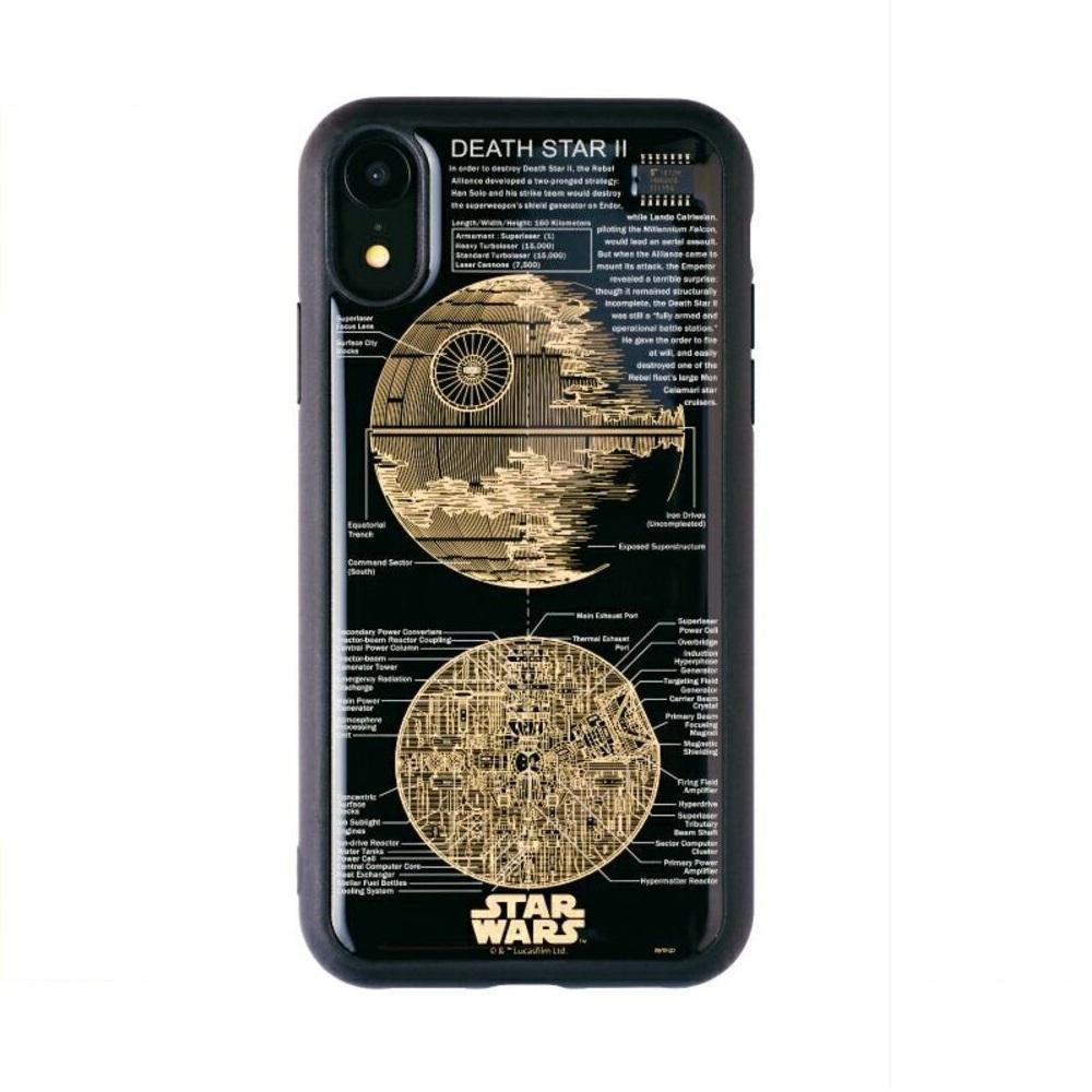 スター・ウォーズ iPhone XR用 スマホケース・カバー FLASH DEATH STAR 基板アート ブラック