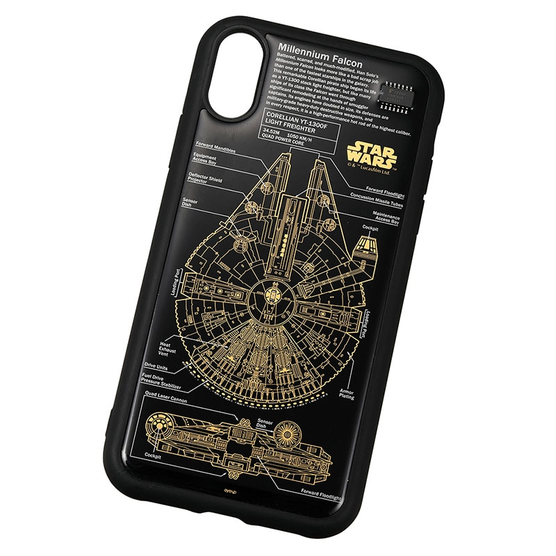 スター・ウォーズ iPhone XR用 スマホケース・カバー FLASH M-FALCON 基板アート ブラック