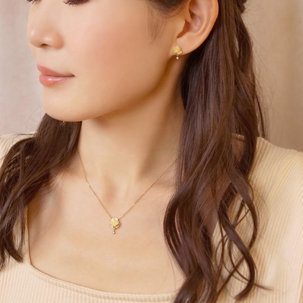 【ショップディズニー先行販売】ディズニーコレクションジュエリー[ 美女と野獣] ピアス( True rose)