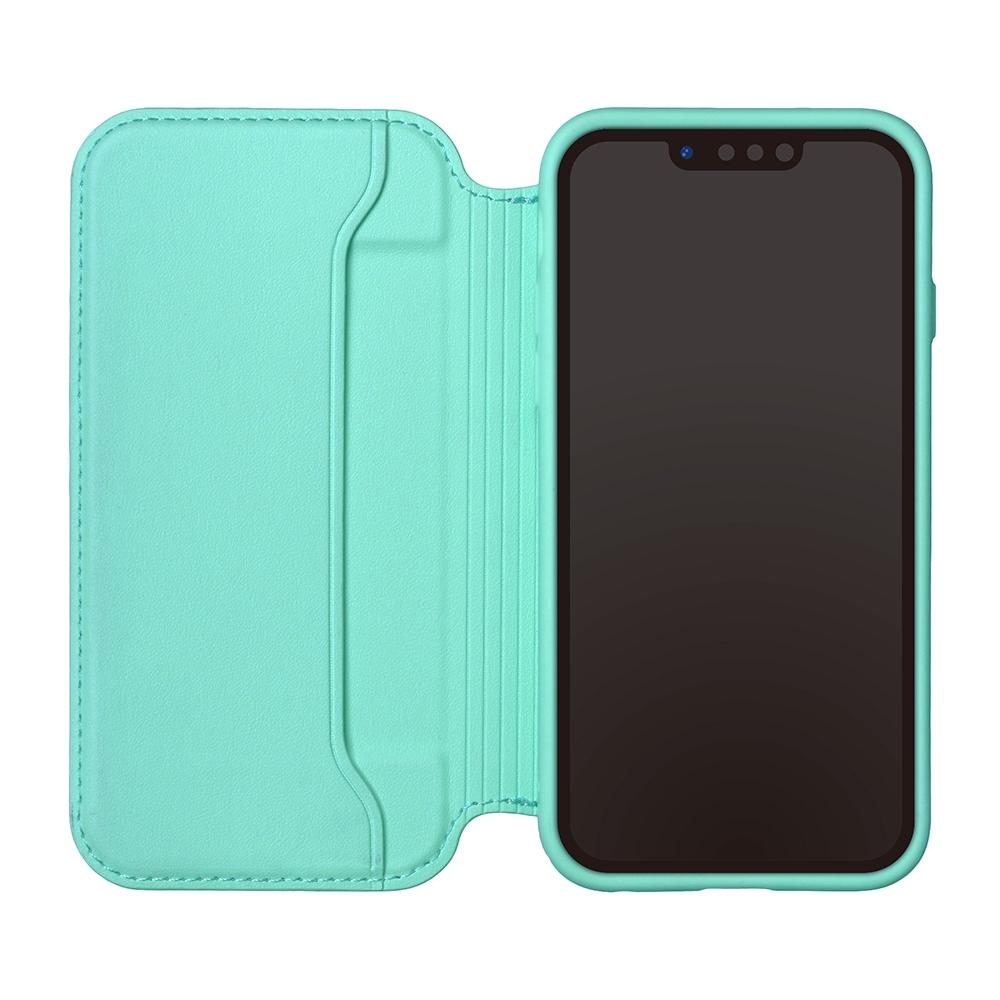 iPhone 13用 ガラスフリップケース [ミッキーマウス/ブルー]