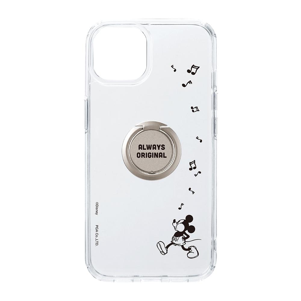 iPhone 13用 リング付 抗菌ハイブリッドケース [ミッキーマウス]