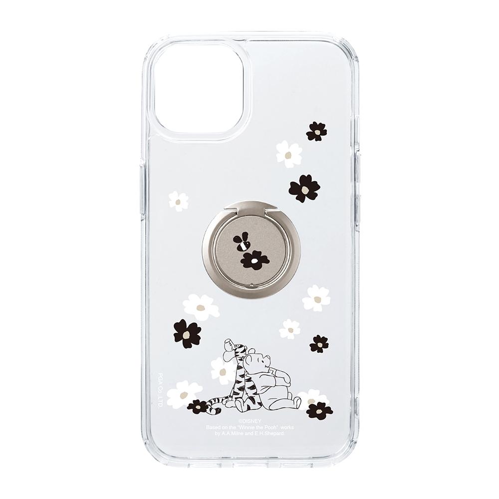 iPhone 13用 リング付 抗菌ハイブリッドケース [くまのプーさん]