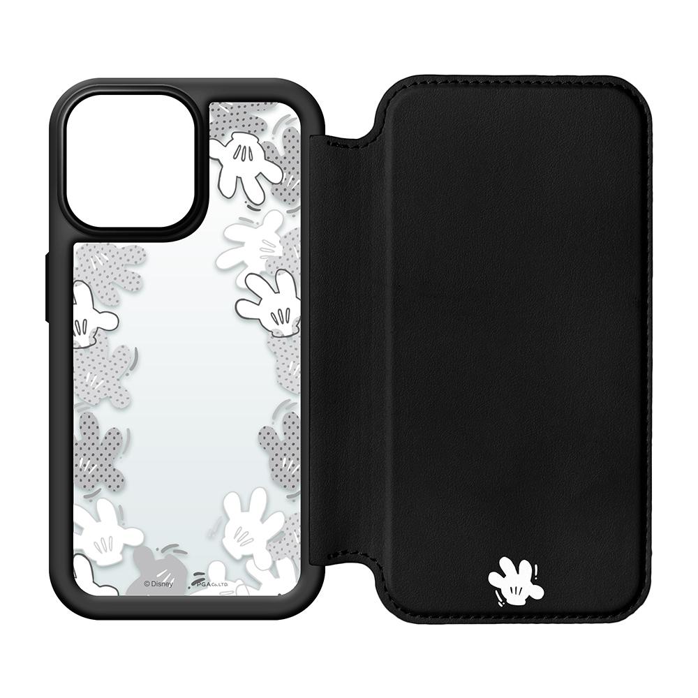 iPhone 13 Pro用 ガラスフリップケース [ミッキーマウス/ブラック]