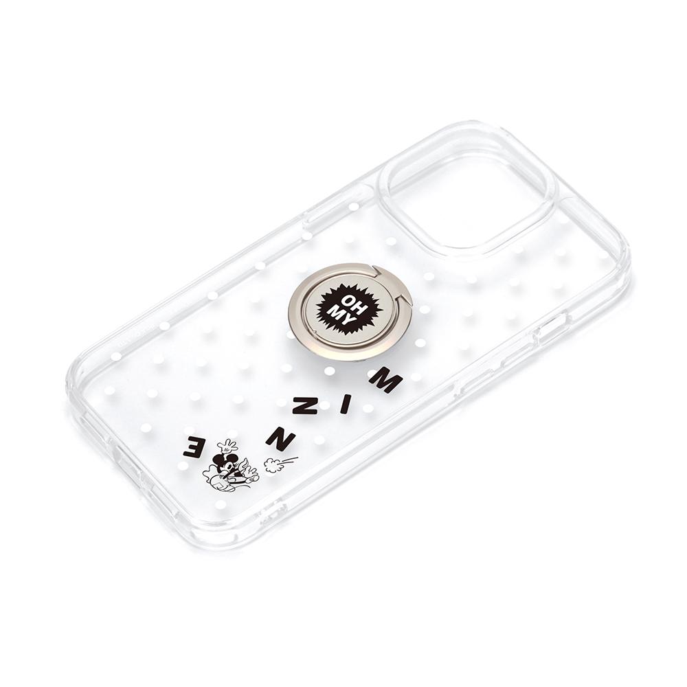 iPhone 13 Pro用 リング付 抗菌ハイブリッドケース [ミニーマウス]