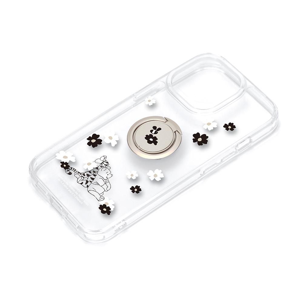 iPhone 13 Pro用 リング付 抗菌ハイブリッドケース [くまのプーさん]
