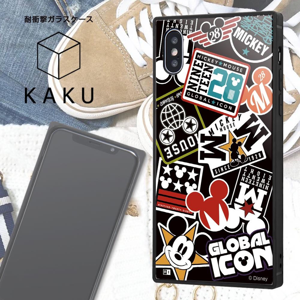 iPhone XS / X /『ディズニーキャラクター』/耐衝撃ガラスケース KAKU/『Collage/ブラック』_01【受注生産】