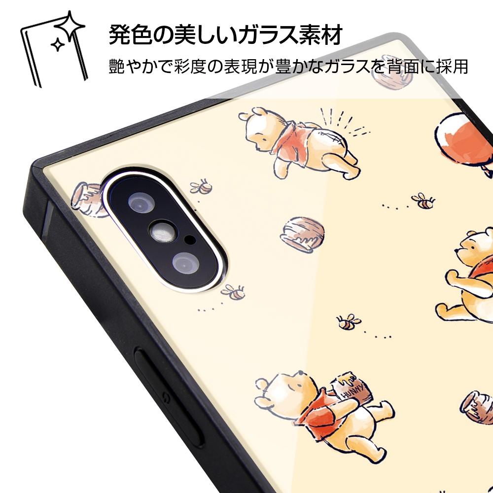 iPhone XS / X /『ディズニーキャラクター』/耐衝撃ガラスケース KAKU/『くまのプーさん/ナチュラル』【受注生産】