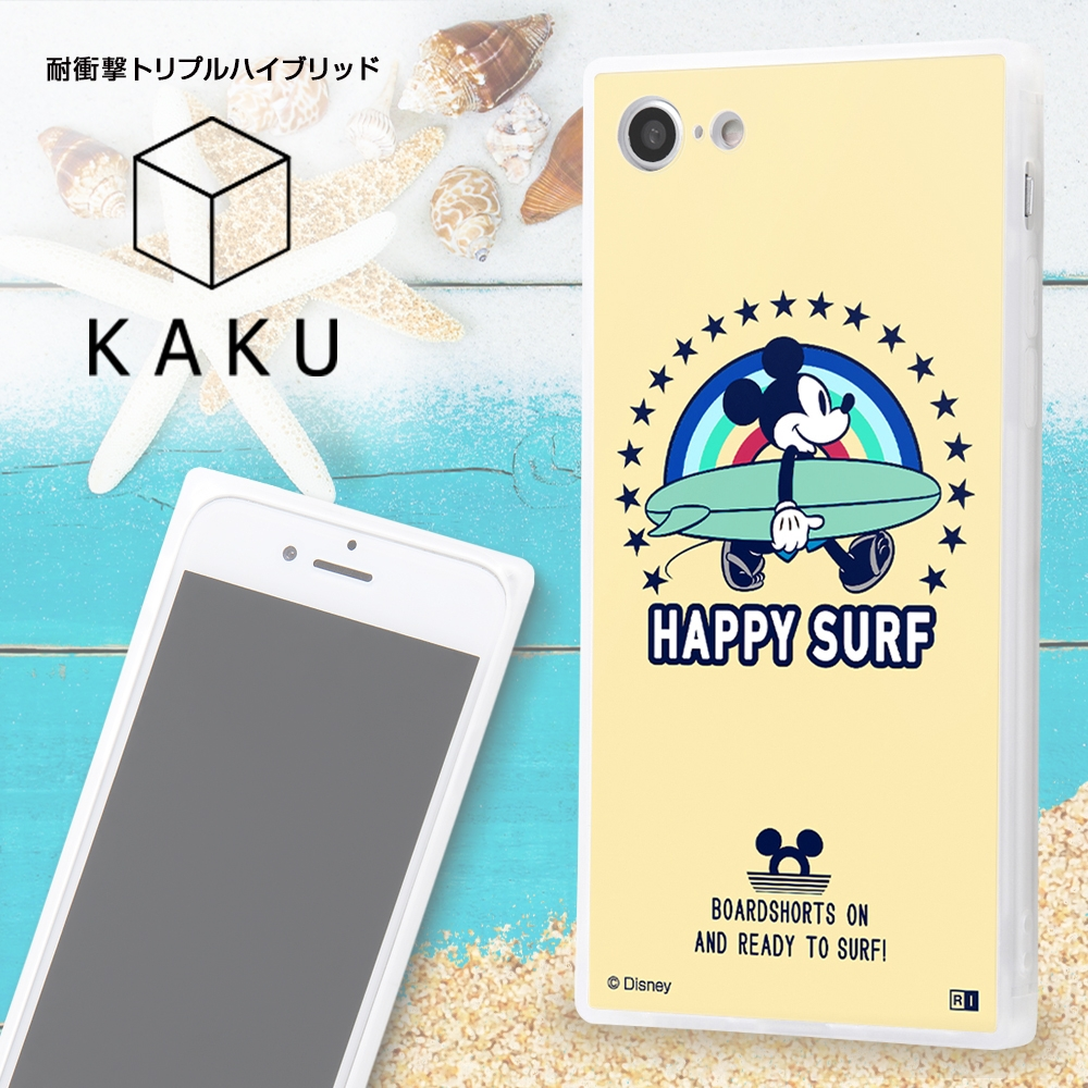 iPhone SE(第2世代)/iPhone 8/iPhone 7/耐衝撃ケース KAKU トリプルハイブリッド ミッキーマウス/Beach is Best【受注生産】
