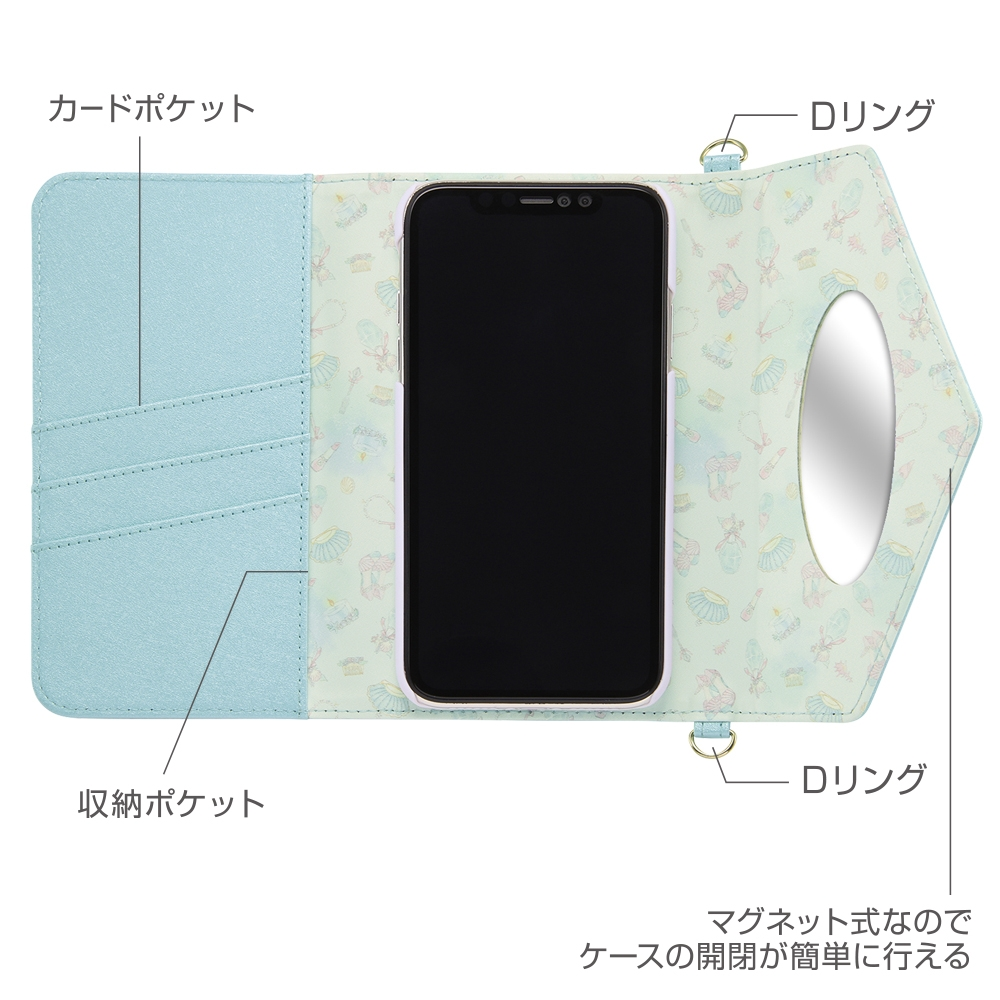 iPhone XR 『ディズニーキャラクタープリンセス』/手帳型レザーケース Collet チャーム+ストラップ付き/ベル