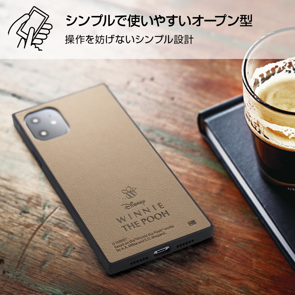 iPhone 11 『ディズニーキャラクター』/耐衝撃オープンレザーケース KAKU/プー