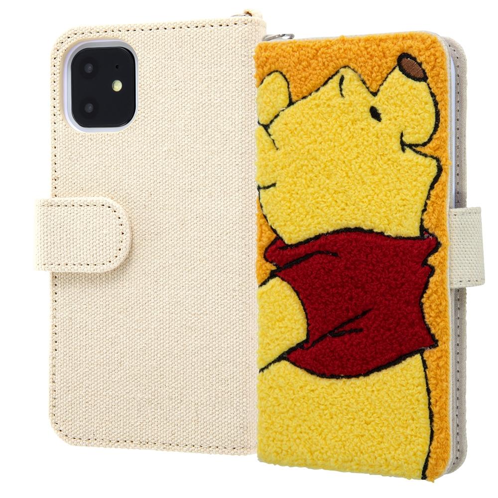 iPhone 11 『ディズニーキャラクター』/手帳型ケース サガラ刺繍/プー