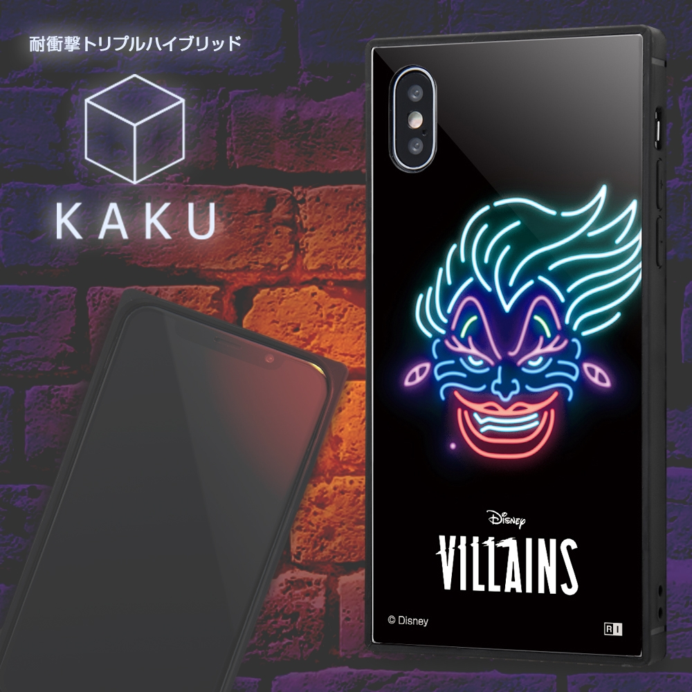 iPhone XS / X /『ディズニーキャラクター』/耐衝撃ケース KAKU トリプルハイブリッド/『アースラ/ネオンサイン』【受注生産】
