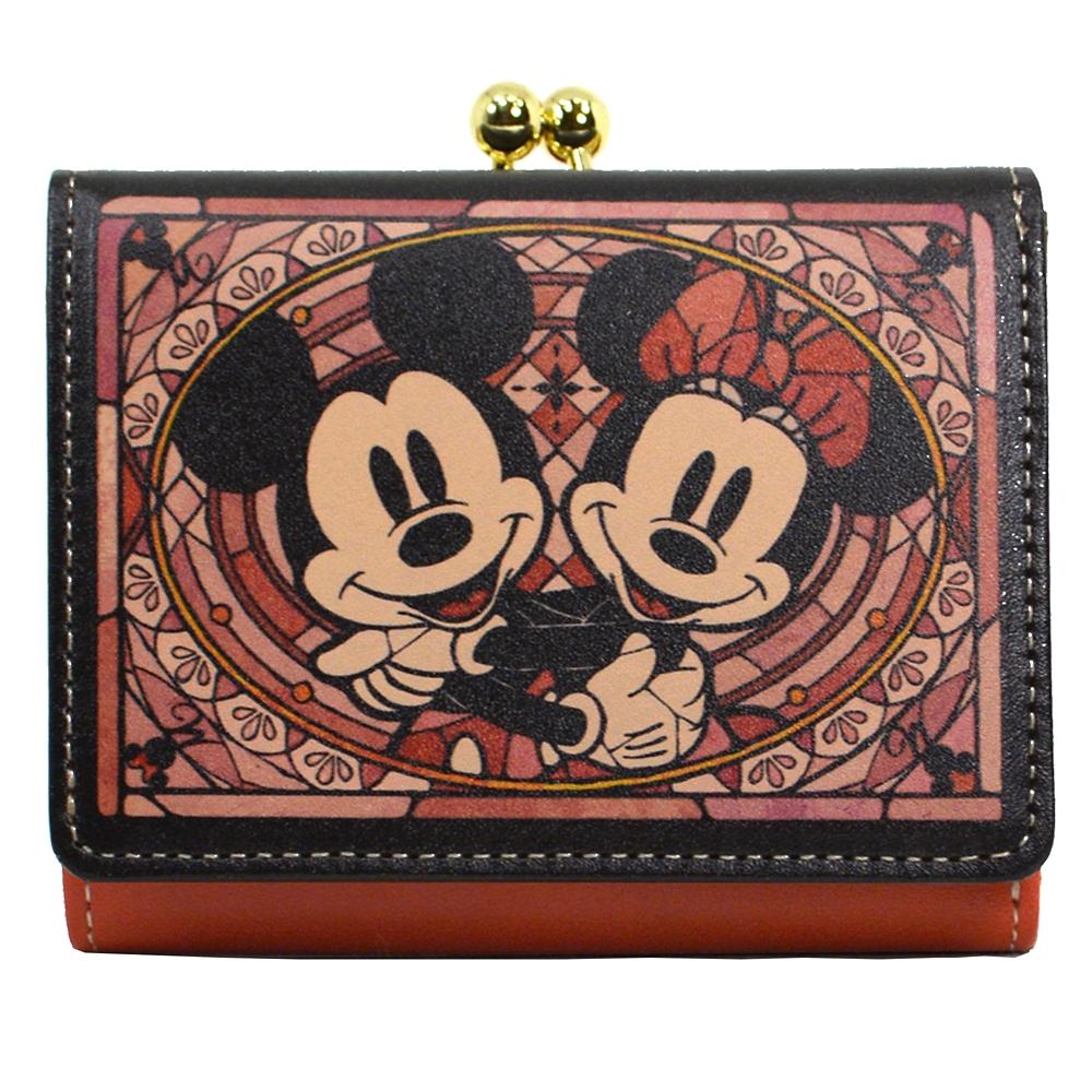 【送料無料】ミッキー&ミニー 財布・ウォレット 三つ折り ミニ ステンドグラスコレクション Fantastic Leather Collection