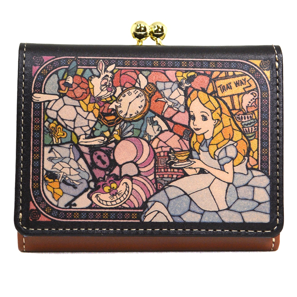 【送料無料】ふしぎの国のアリス 財布・ウォレット 三つ折り ミニ ステンドグラスコレクション Fantastic Leather Collection