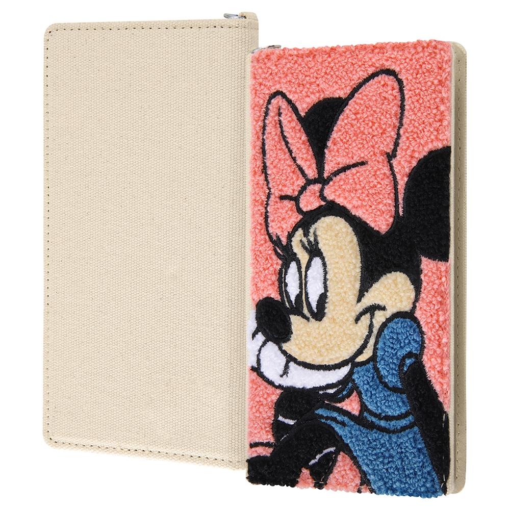 各種スマートフォン 『ディズニーキャラクター』/汎用手帳型ケース FLEX Mサイズ サガラ刺繍/『ミニーマウス』