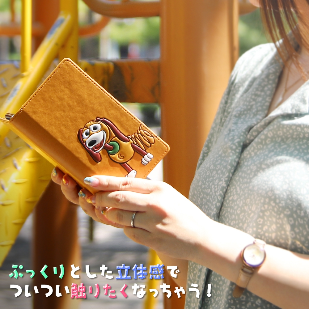 Galaxy A41用/『ディズニー・ピクサーキャラクター』/カホゴな手帳型ケース FLEX ポップアップ/『スリンキー』【セット商品】