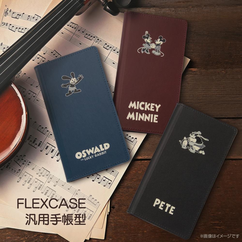 汎用『ディズニーキャラクター』/手帳型ケース FLEX S/『ピート/モノクローム』【受注生産】