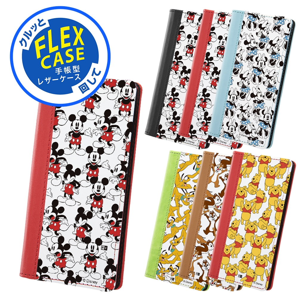 iPhone SE(第2世代) / 8 / 7 /『ディズニーキャラクター』/手帳型 FLEX CASE バイカラー01 SS/『ディズニーキャラクター/総柄』_02【受注生産】