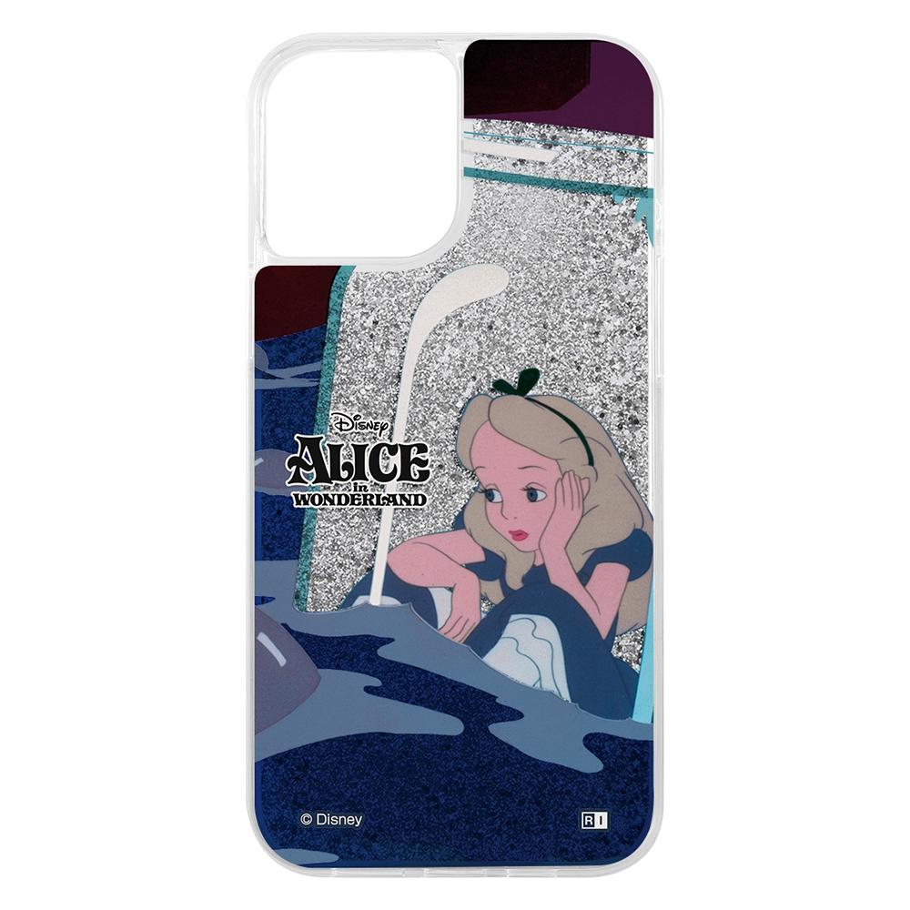 iPhone 12 Pro Max/『ディズニーキャラクター』/ラメ グリッターケース/『ふしぎの国のアリス/Sit』_01【受注生産】