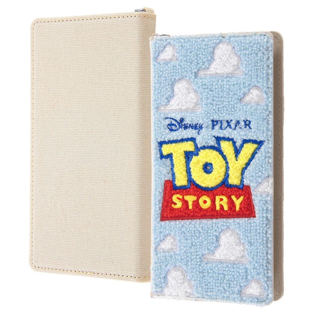 汎用 『ディズニー・ピクサーキャラクター』/手帳型ケース FLEX Lサイズ サガラ刺繍/『トイ・ストーリー/ロゴ』