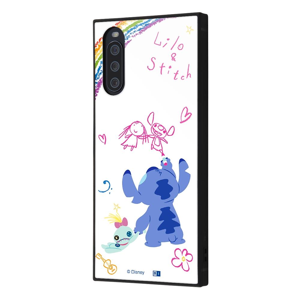 Xperia 10 III /『ディズニーキャラクター』/耐衝撃ハイブリッドケース KAKU/『リロ&スティッチ/落書き』【受注生産】