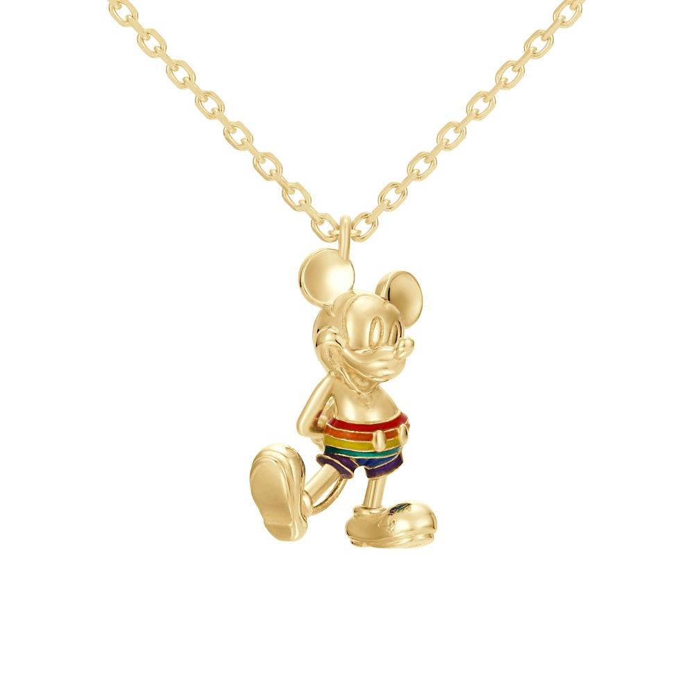 【ユートレジャー】ミッキーマウス レインボースタイル ネックレスシルバー イエローゴールドコーティング( NDYR-102-SYP)