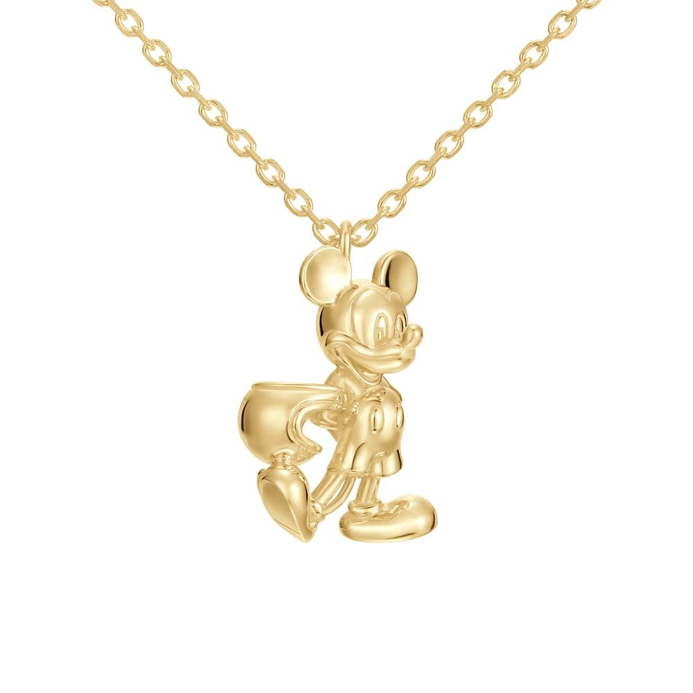【ユートレジャー】ミッキーマウス モータースタイル ネックレスシルバー イエローゴールドコーティング(NDYR-101-SYP)