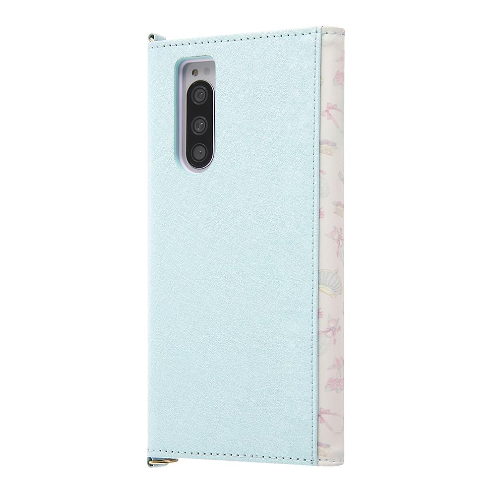 リトル・マーメイド Xperia 5用スマホケース・カバー 手帳型 レザー Collet チャーム+ストラップ付き