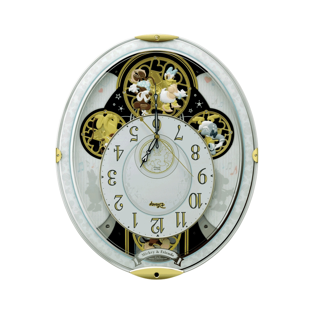 【送料無料】ミッキー&フレンズ からくり電波掛時計(28曲メロディ入り)