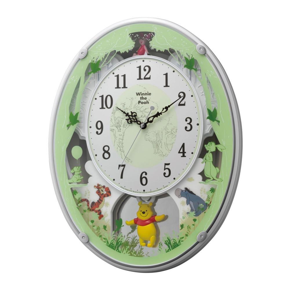 【送料無料】くまのプーさん 振り子電波掛時計(28曲メロディ入り)