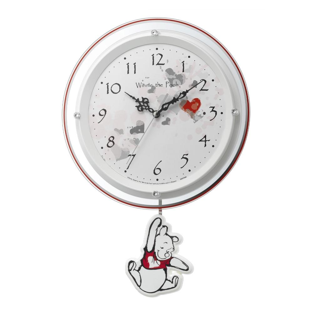 【送料無料】くまのプーさん 振り子電波掛時計(ゆったり振り子)