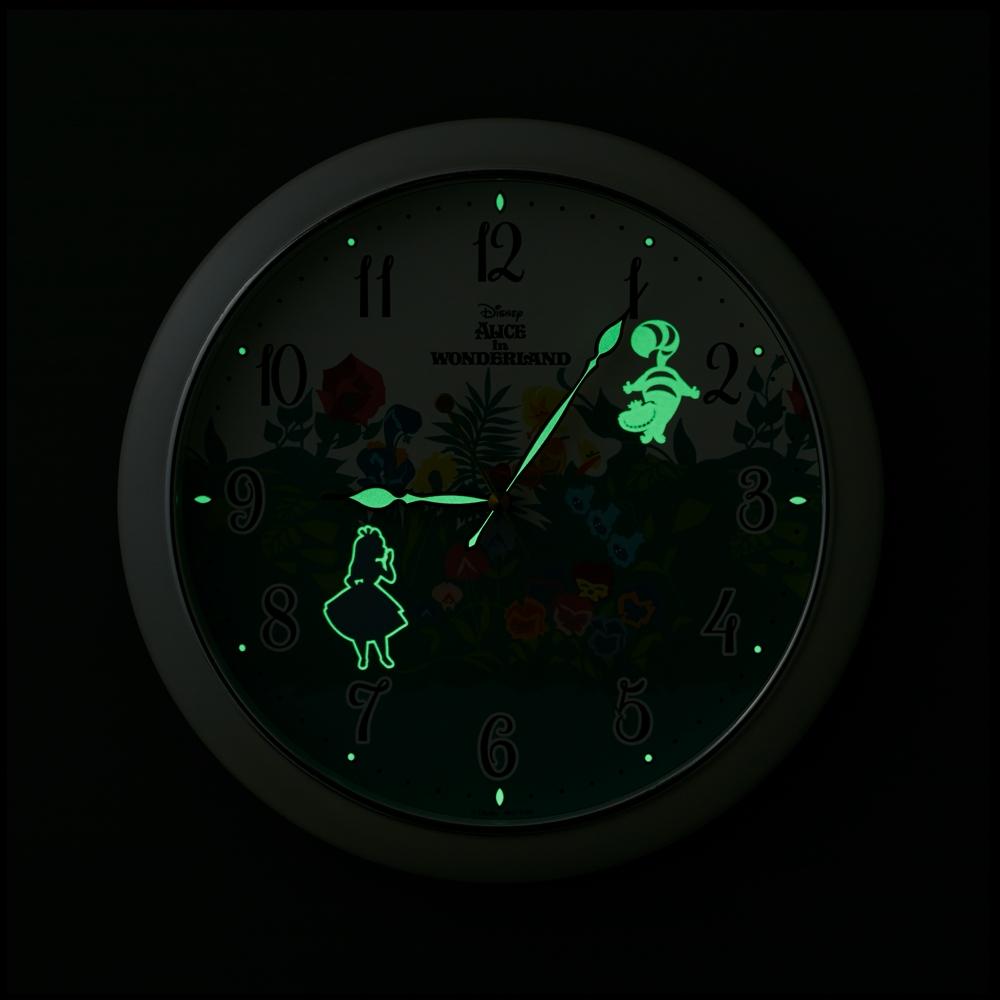 不思議の国のアリス 掛時計(暗くなると隠されたモチーフが光る)