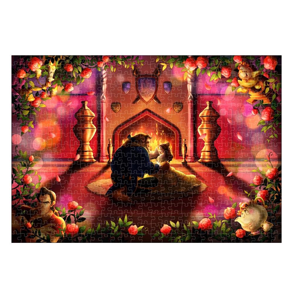美女と野獣 ピュアホワイト ぎゅっと500ピース ジグソーパズル シルエットロマンス・シリーズ「愛のはじまり(美女と野獣)」