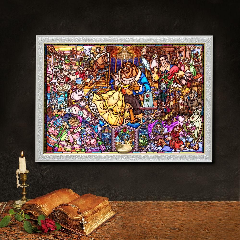 美女と野獣 ジグソーパズル ピュアホワイト 1000ピース  「美女と野獣 ストーリー ステンドグラス」