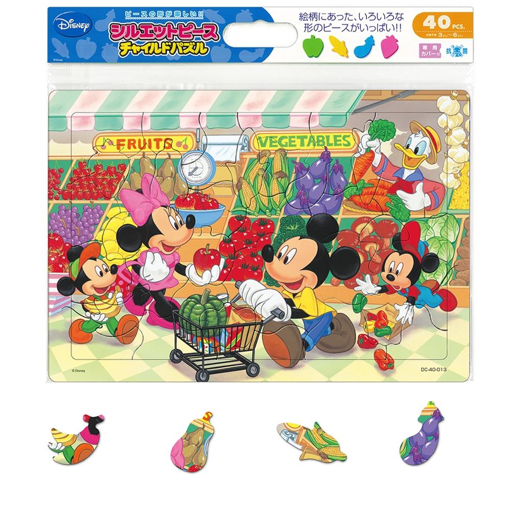 ミッキー&フレンズ シルエットピースチャイルドパズル 40ピース 「スーパーでおかいもの」