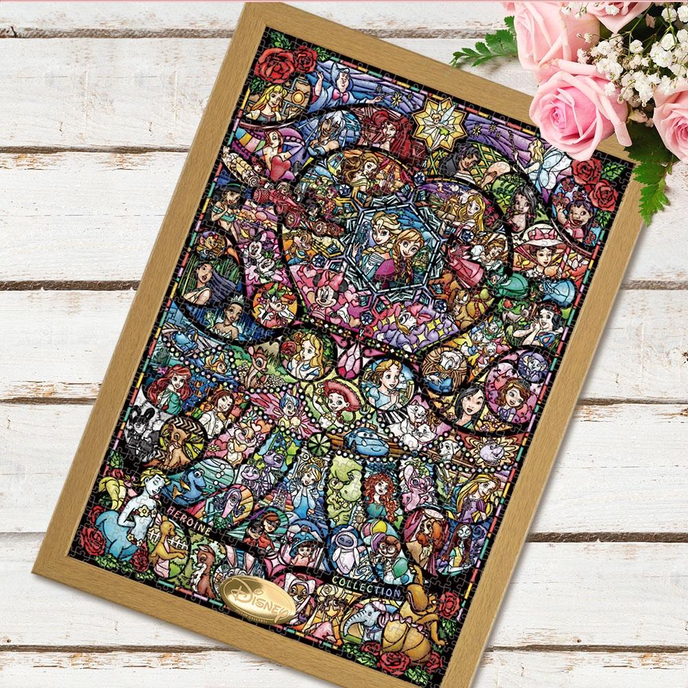 ディズニー&ピクサーオールキャラクター 世界最小1000ピース ジグソーパズル 「ディズニー&ディズニー/ピクサー ヒロインコレクション ステンドグラス」