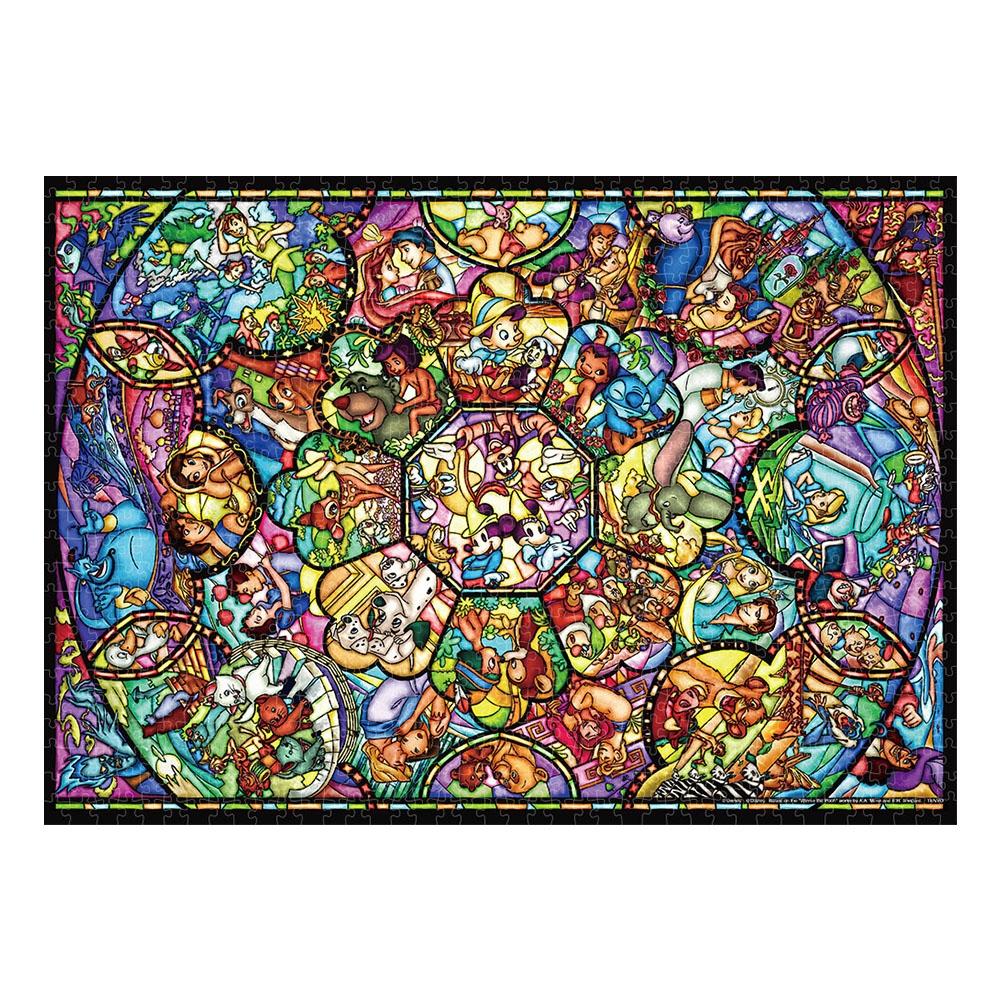 ディズニーオールキャラクター ジグソーパズル 世界最小1000ピース「 オールスター ステンドグラス」