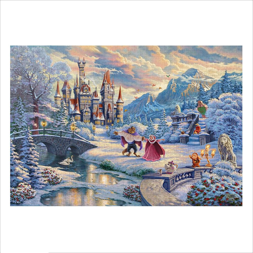 美女と野獣 ジグソーパズル キャンバス・スタイル 1000ピース スペシャルアート・コレクション トーマス・キンケード 「Beauty and the Beast's Winter Enchantment」