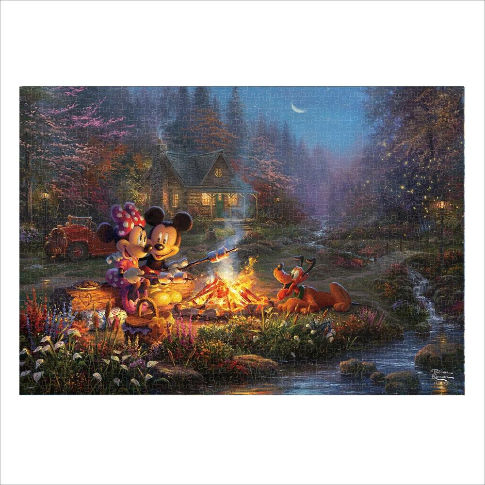 ミッキーマウス ジグソーパズル キャンバススタイル 1000ピース スペシャルアートコレクション トーマス・キンケード 「Mickey and Minnie Sweetheart Campfire」