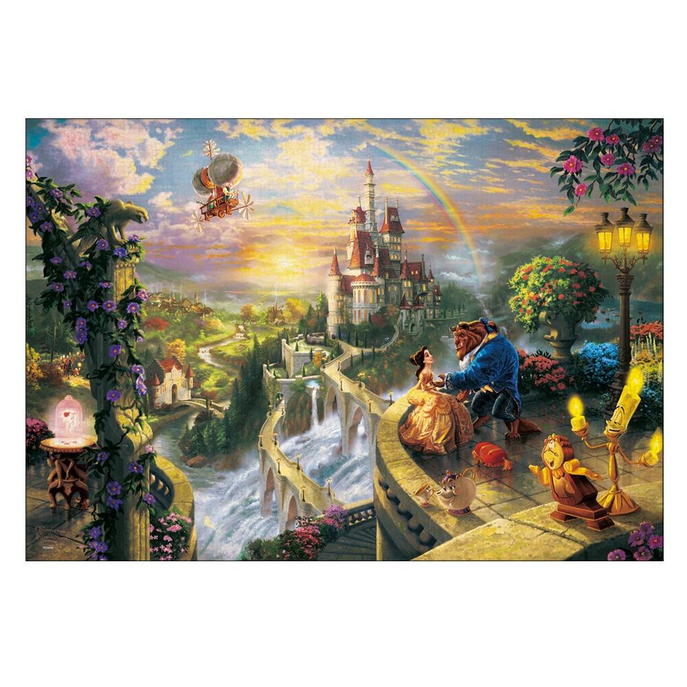 美女と野獣 ジグソーパズル キャンバススタイル 1000ピース スペシャルアートコレクション トーマス・キンケード 「Beauty and the Beast Falling in Love」