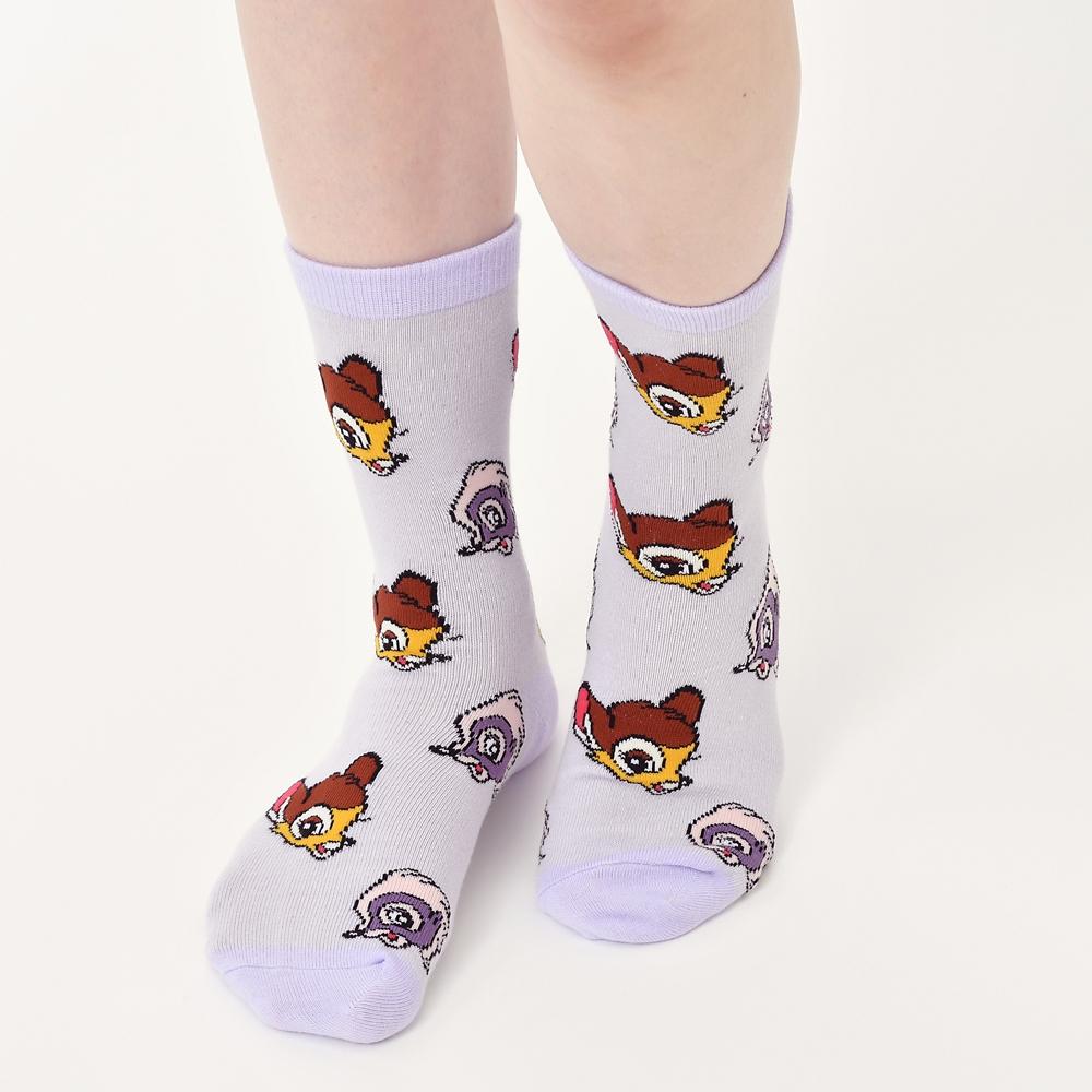 バンビ&フラワー 靴下 パープル