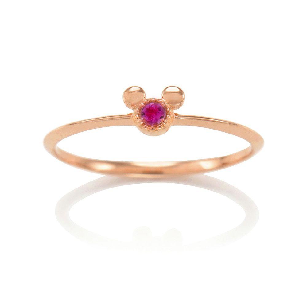 【D-Made】バースストーンリング Anniversary Jewelry ミッキーアイコン ルビー