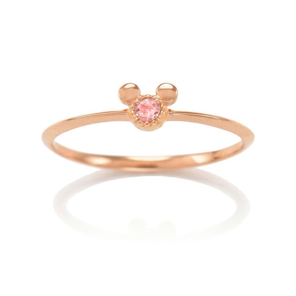 【D-Made】バースストーンリング Anniversary Jewelry ミッキーアイコン ピンクトルマリン