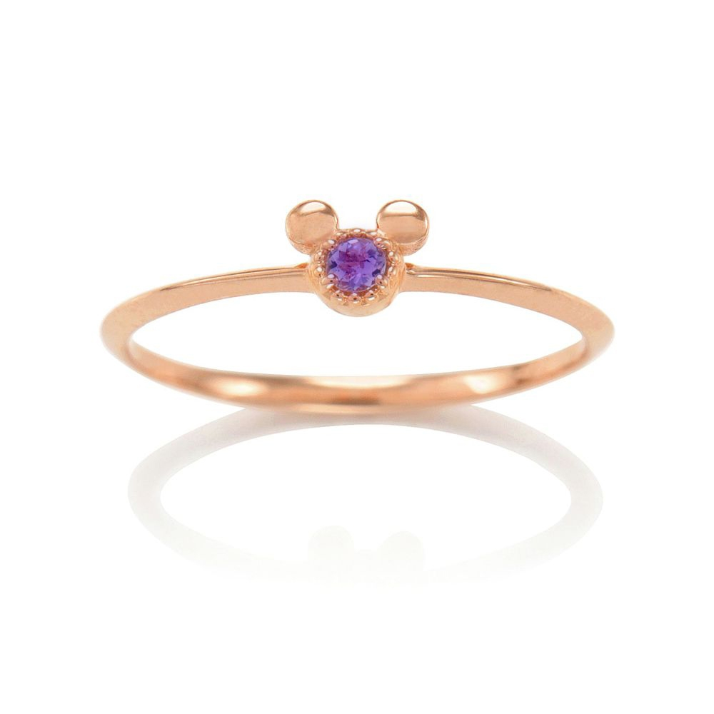 【D-Made】バースストーンピンキーリング Anniversary Jewelry ミッキーアイコン アメジスト