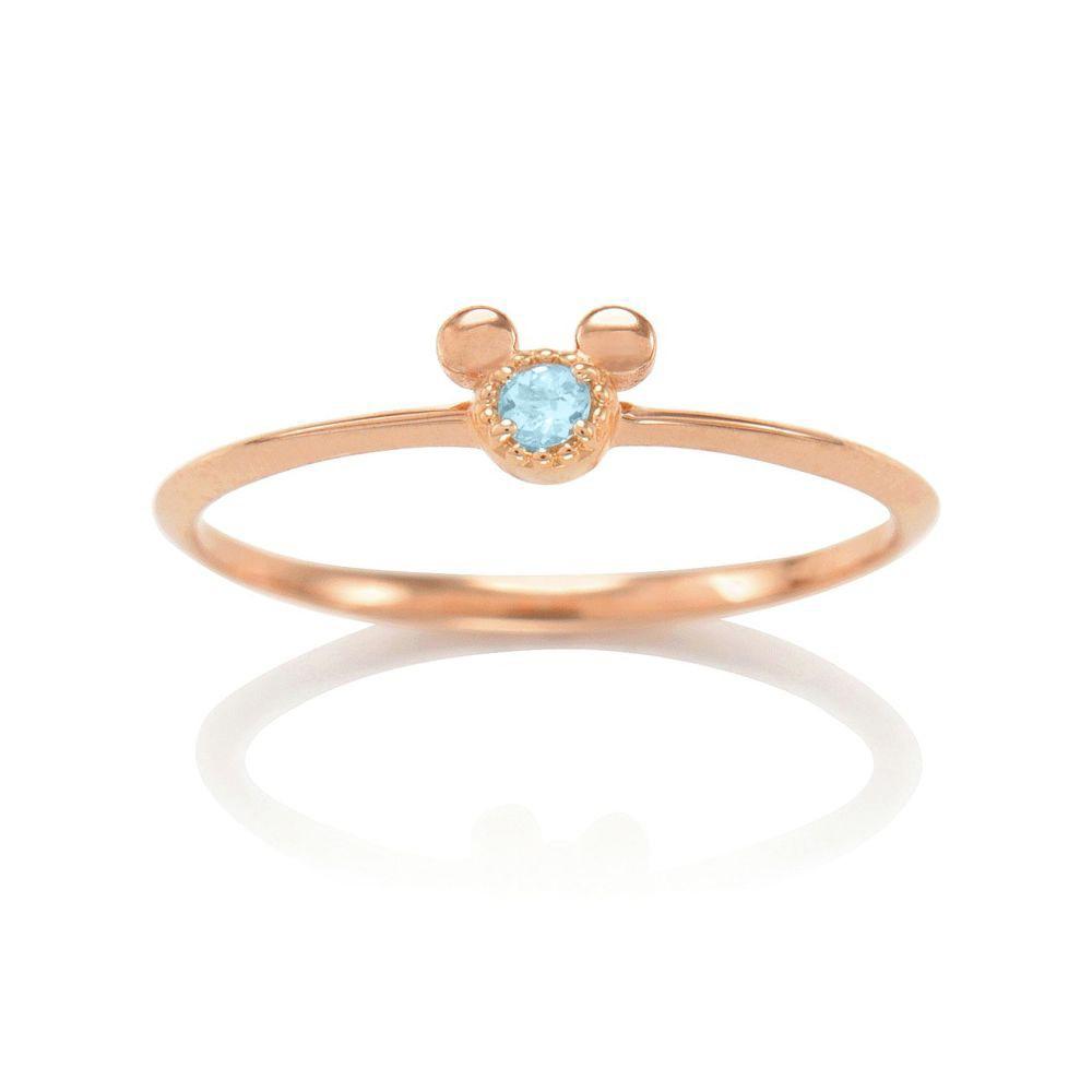 【D-Made】バースストーンピンキーリング Anniversary Jewelry ミッキーアイコン アクアマリン