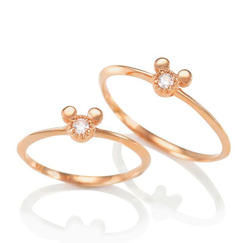 【D-Made】バースストーンピンキーリング Anniversary Jewelry ミッキーアイコン ダイヤモンド