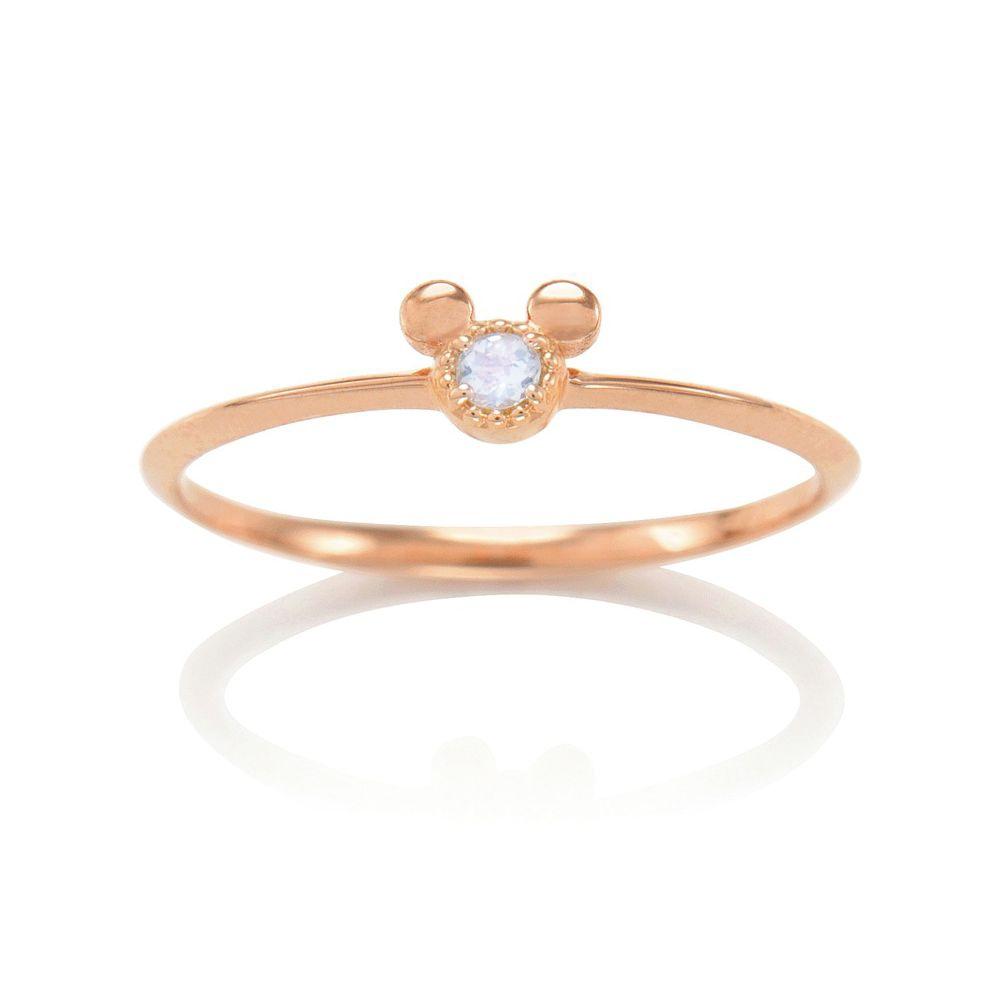 【D-Made】バースストーンピンキーリング Anniversary Jewelry ミッキーアイコン ブルームーンストーン
